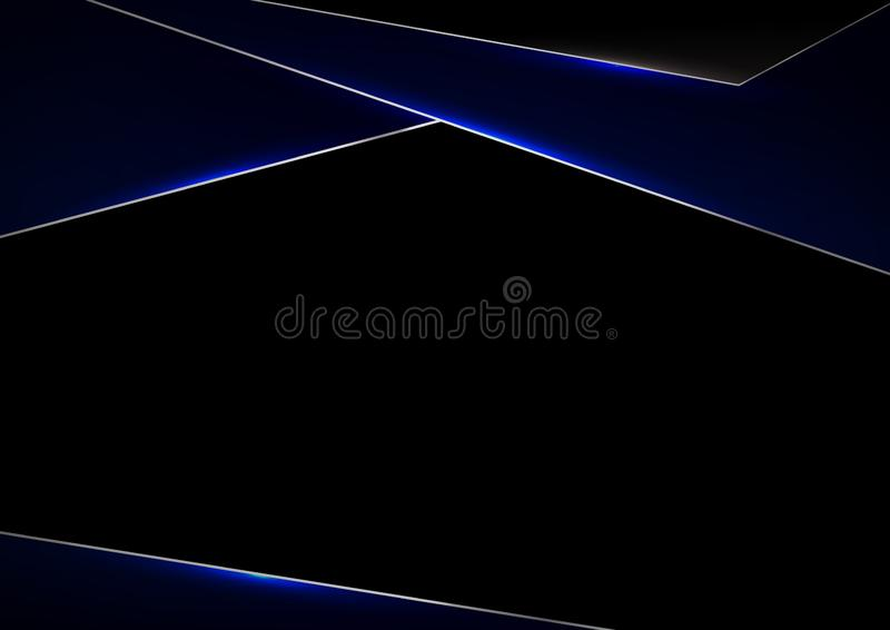 Template metallic blue and black frame layout design technology innovation concept with space your text stock illustration