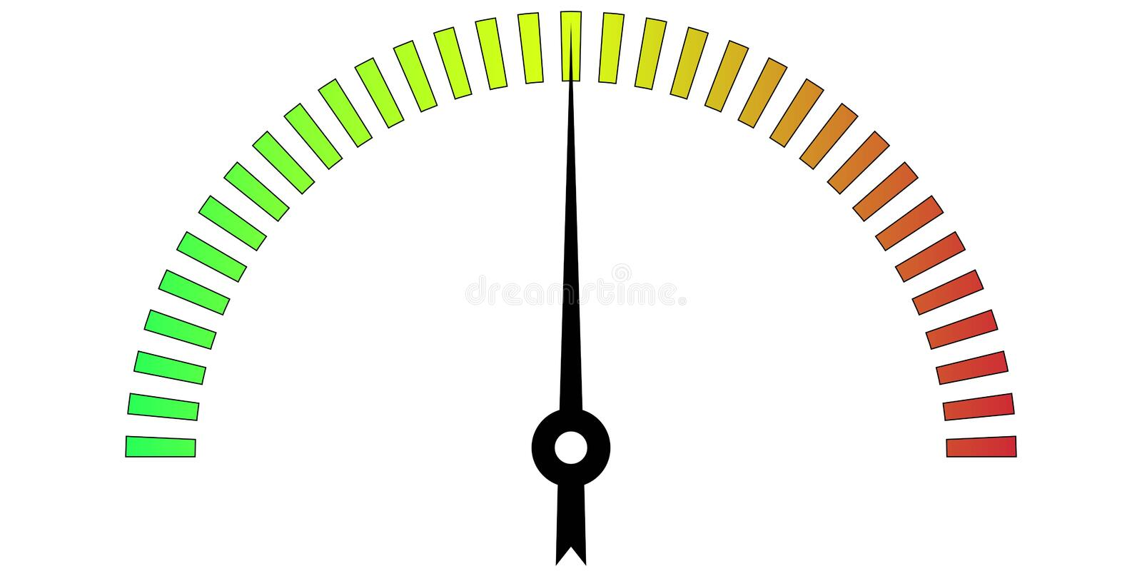 Template meter with color scale. Measuring temperature with a gradient of colors on the scale and realistic arrow showing the measurement data, vector template vector illustration