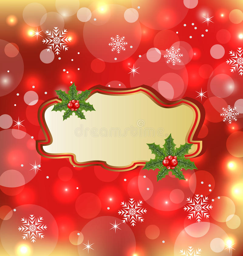 Download Template With Mistletoe For Design Christmas Card Stock Vector - Image: 26471470
