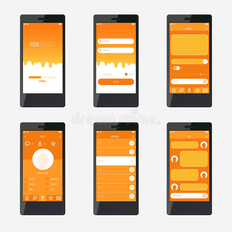 Template mobile application interface design stock vector for Blueprint app free