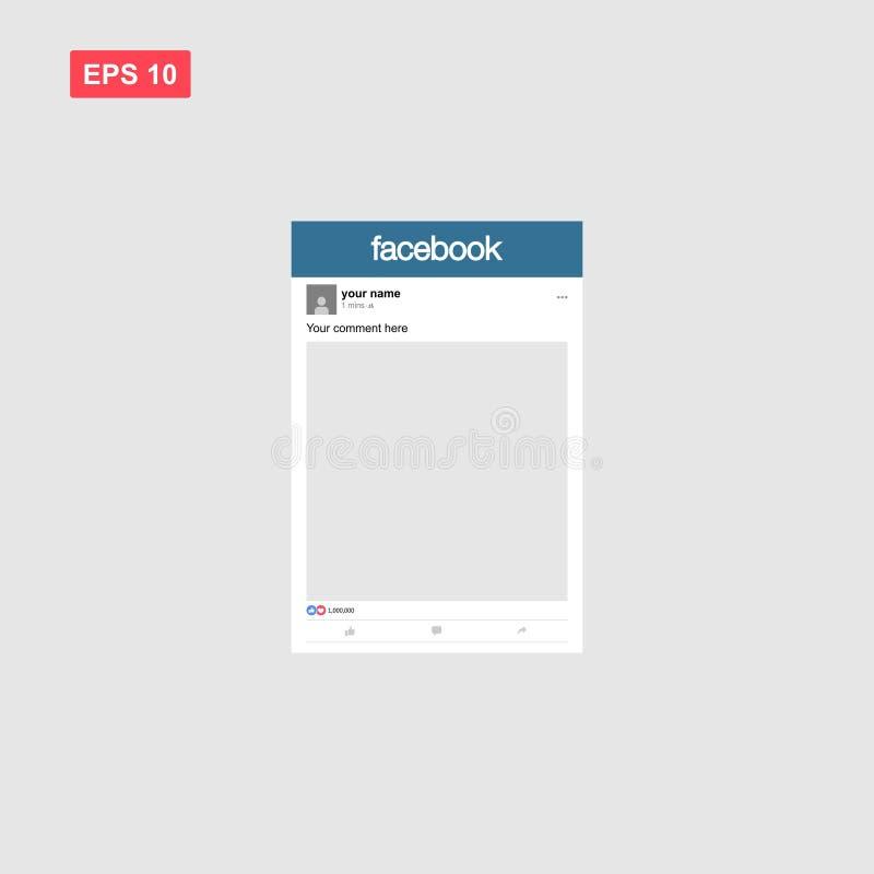 Template mockup of social media facebook photo frame. Eps10 vector illustration