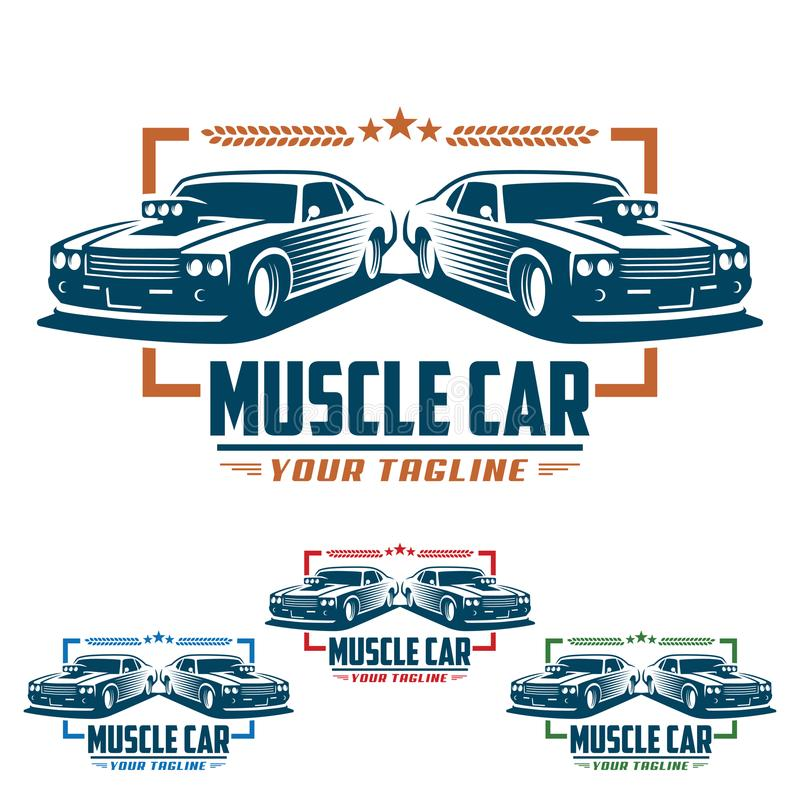 Muscle car logo, retro logo style, vintage logo. Template of Muscle car logo, retro logo style, vintage logo. Perfect for all automotive industry stock illustration