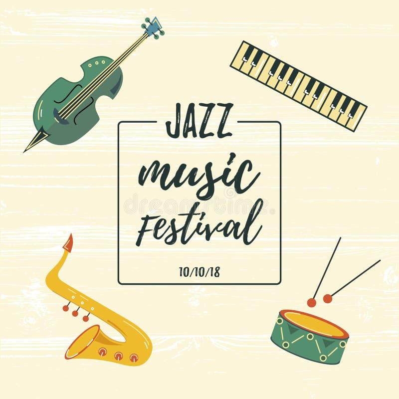 Vector illustration with saxophone, piano keyboard, violin, drum. royalty free illustration
