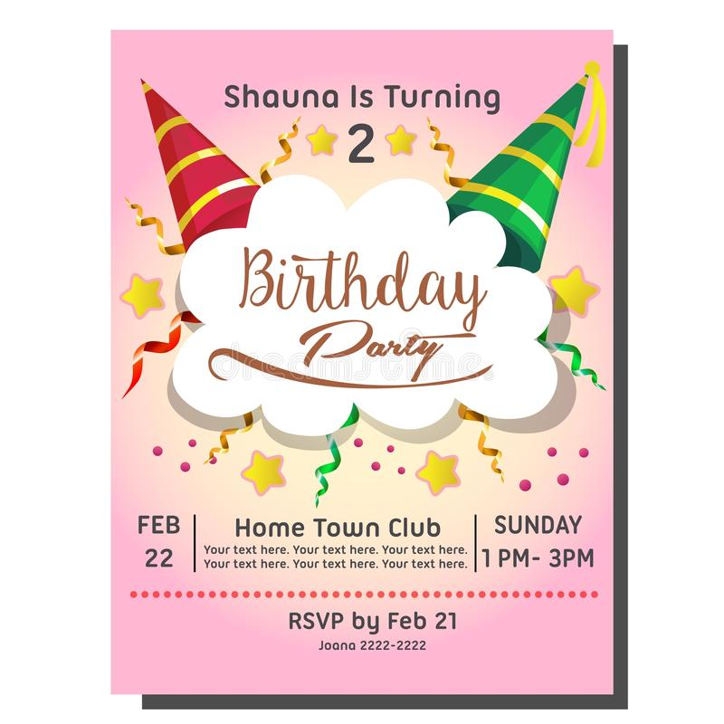 2nd Birthday Party Invitation Card With Hat Stock Vector ...
