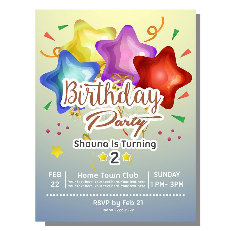 2nd Birthday Party Invitation Card With Star Balloon Stock Vector ...