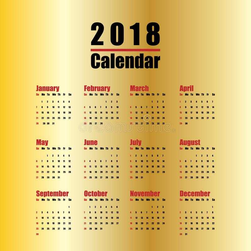 Template Of 2018 New Year Calendar In Clean Minimal Table Simple