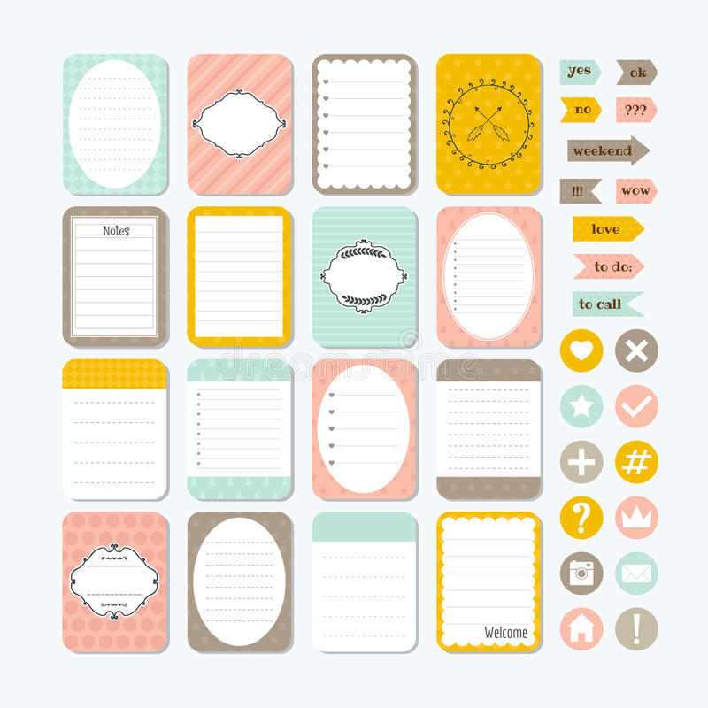 Template for notebooks. Cute design elements. Notes, labels, stickers. Collection of various note papers. Flat style stock illustration