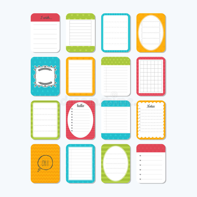 Template for notebooks. Notes, labels, stickers. Collection of various note papers. Cute design elements stock illustration
