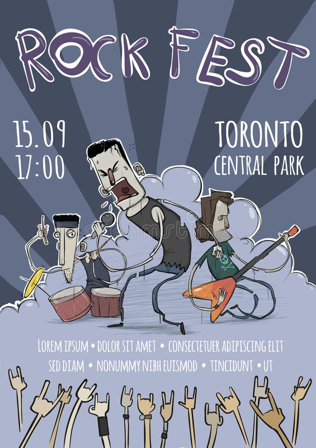 Free Template Of Poster For The Rock Festival. Guitarist, Drummer And Singer Characters. Heavy Rock Music Band. Vector Royalty Free Stock Images - 100129599