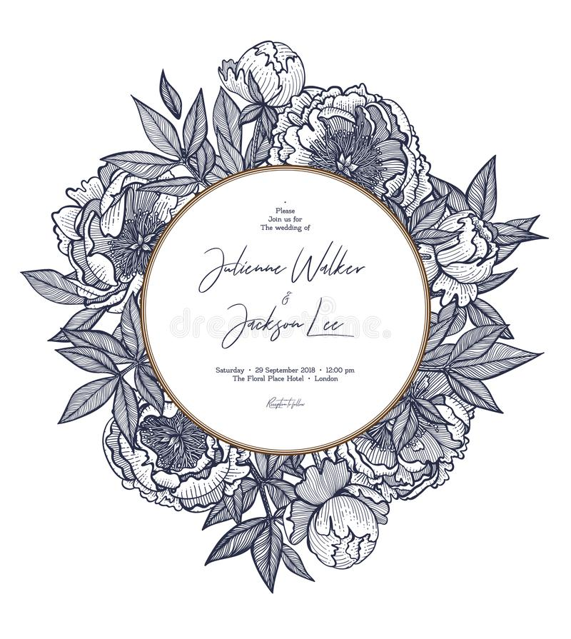 Free Template Of The Wedding Invitation. Can Be Used For Invitations, Cards On The Table, Save The Date, Labels, Menu And Royalty Free Stock Images - 107969419