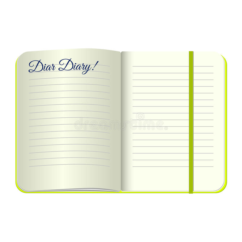 Template Open A Blank Notepad With The Words Dear Diary. Vector
