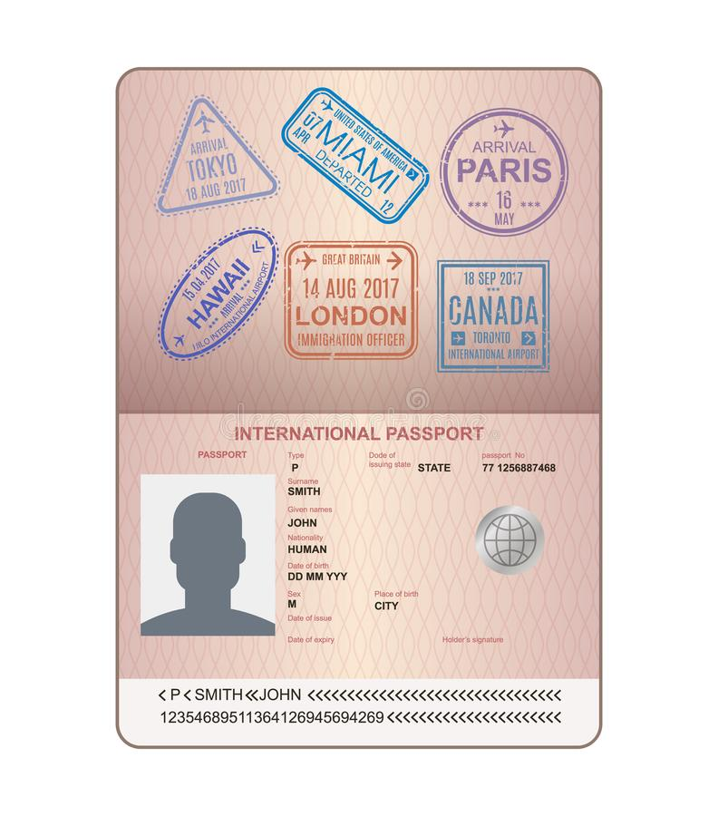 Template of an open passport with stamps, seals. Travel, immigration. royalty free illustration