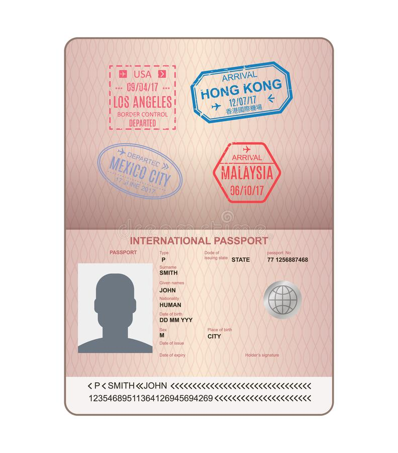 Template Of An Open Passport With Stamps, Seals. Travel