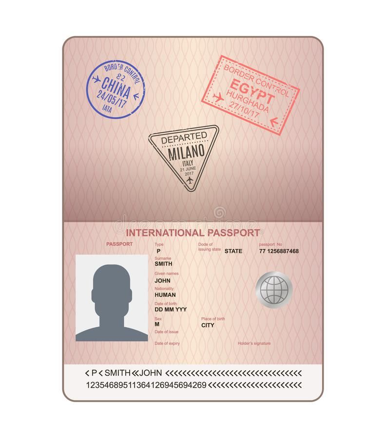 Template of an open passport with stamps, seals. Travel, immigration. vector illustration
