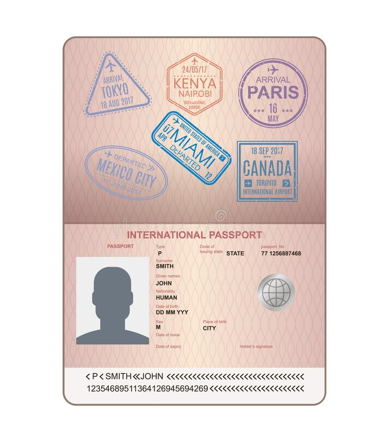 Template of an open passport with stamps, seals. Travel, immigration. stock illustration