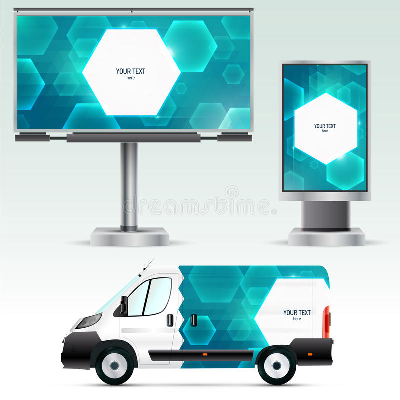 Template outdoor advertising or corporate identity on the car, billboard and citylight. stock illustration