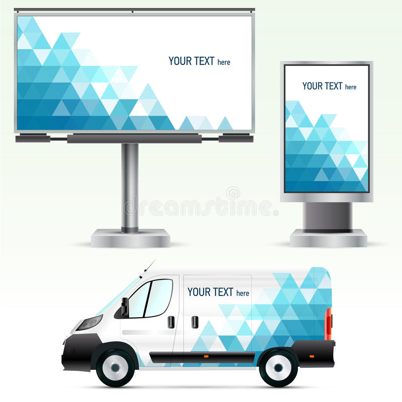 Free Template Outdoor Advertising Or Corporate Identity On The Car, Billboard And Citylight. Stock Images - 46562394