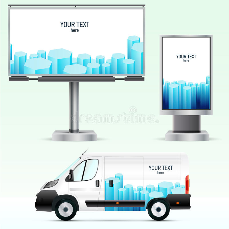 Free Template Outdoor Advertising Or Corporate Identity On The Car, Billboard And Citylight. Stock Photo - 46562400
