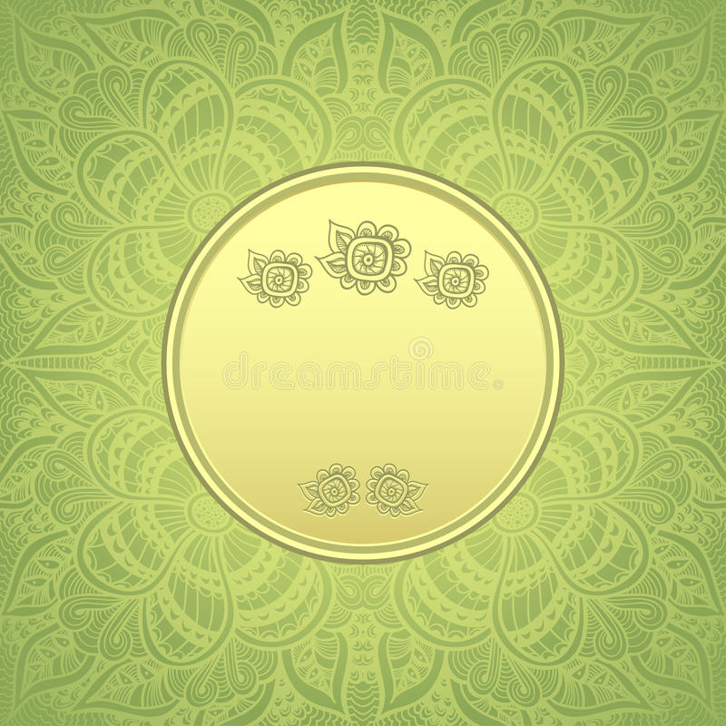 Template package background with zen doodle pattern in gold green template package background with zen doodle zen tangle pattern in gold green colors for congratulation or invitation or for advertising different things stopboris Images
