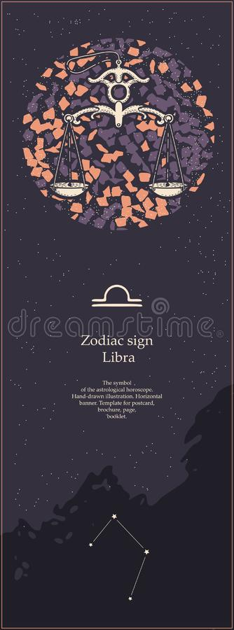 Zodiac sign Libra. The symbol of the astrological horoscope. Hand-drawn illustration. Vertical banner. Template for vector illustration