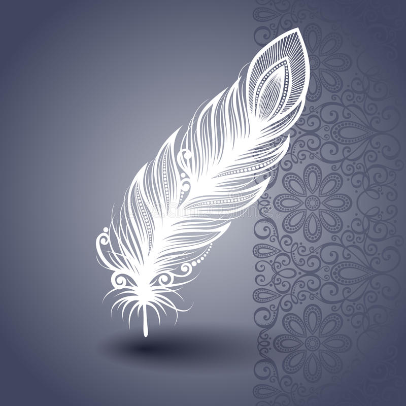 Template with Peerless Feather in Ornate Background stock illustration