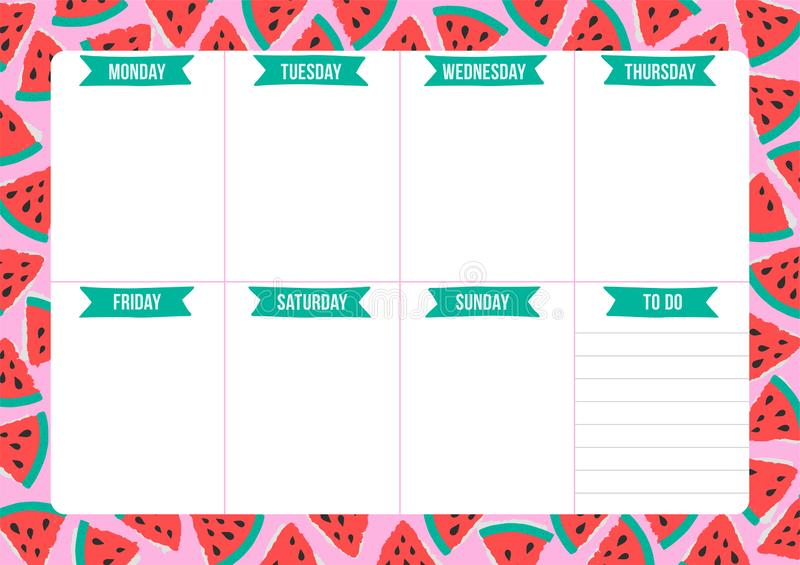 Cute Weekly Planner With Hand Drawn School Elements  Stock
