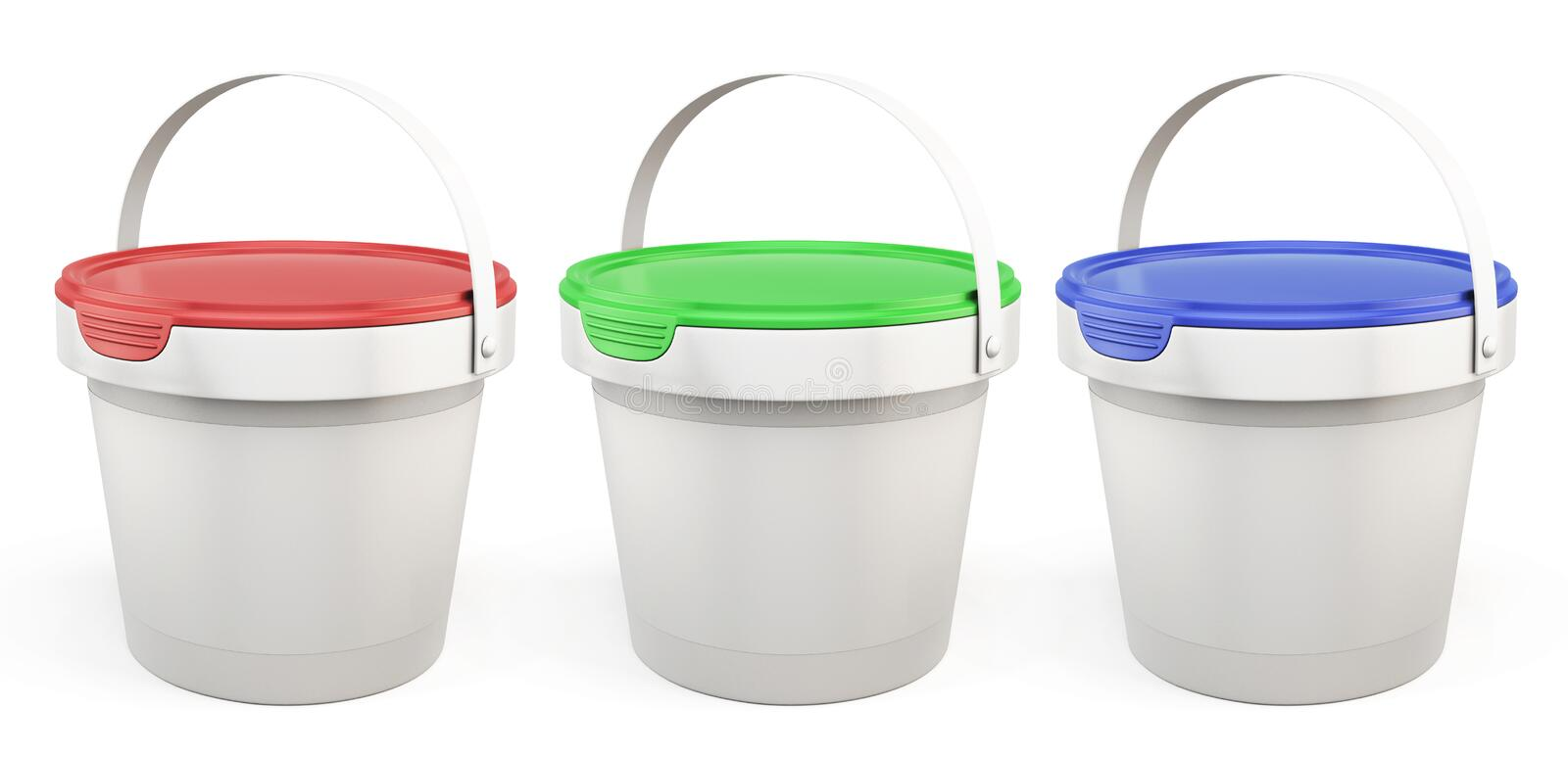 Template plastic buckets with lids various colors. 3d. vector illustration