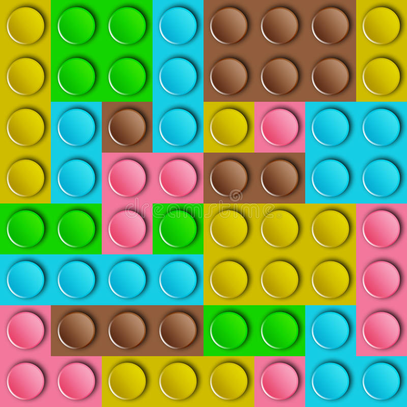 Template of plastic. Construction brick parts of brown,yellow,blue,green and pink royalty free illustration