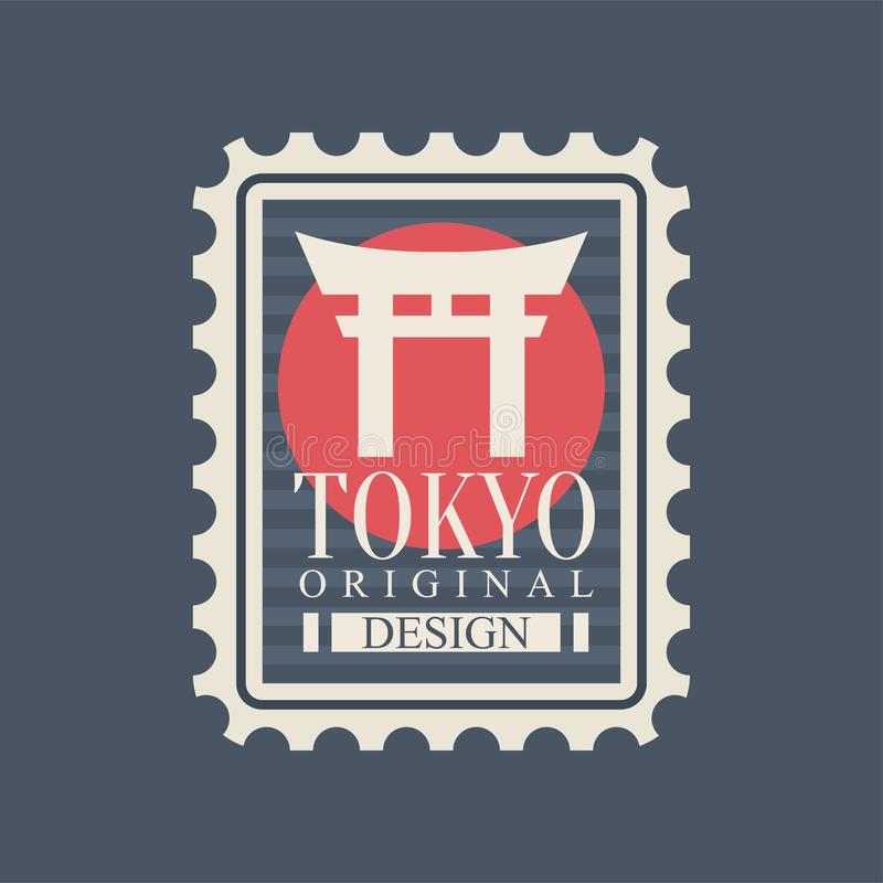 Template of postage stamp with most famous landmark of Tokyo. Symbol of Torii gate on red circle. Capital city Japan vector illustration