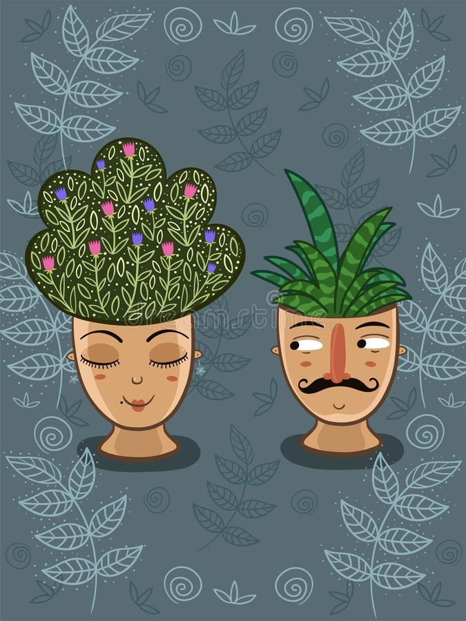Template for postcard. Indoor plants in pots with faces. Man and woman. Vector graphics. Template for postcard. Indoor plants in pots with faces. Man and woman royalty free stock photography