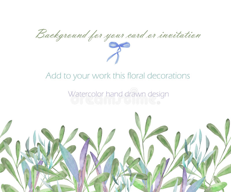 Template postcard with the watercolor green branches and plants, hand drawn on a white background, greeting card vector illustration