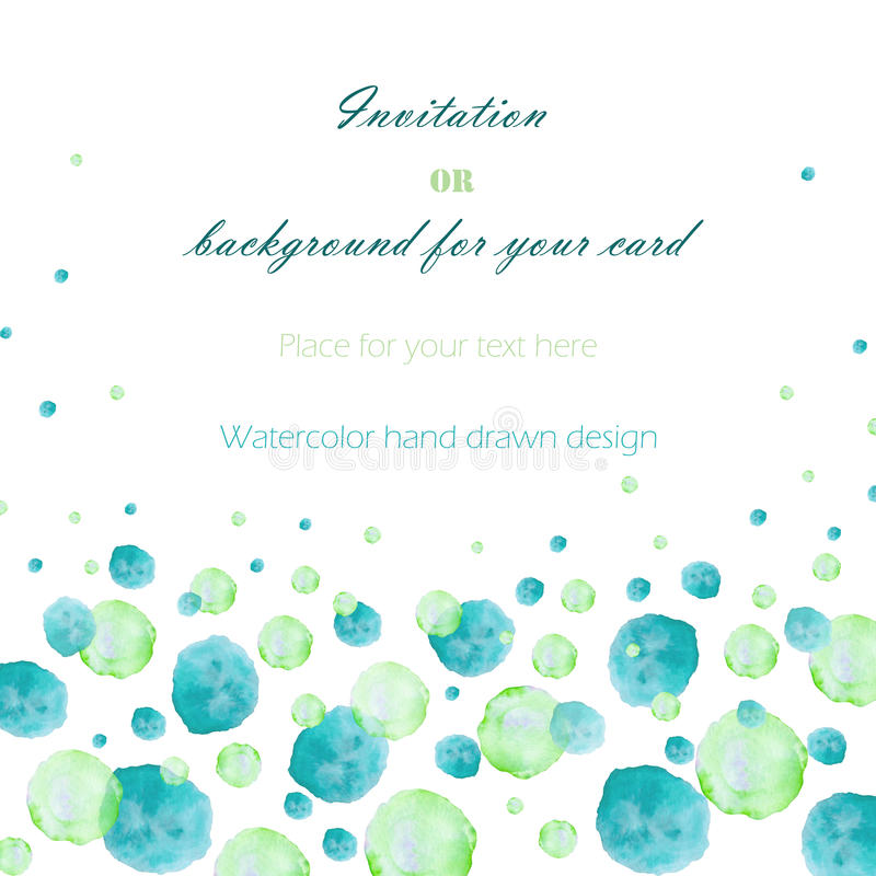 Template postcard with the watercolor green and turquoise bubbles (spots, blots), hand drawn on a white background royalty free illustration