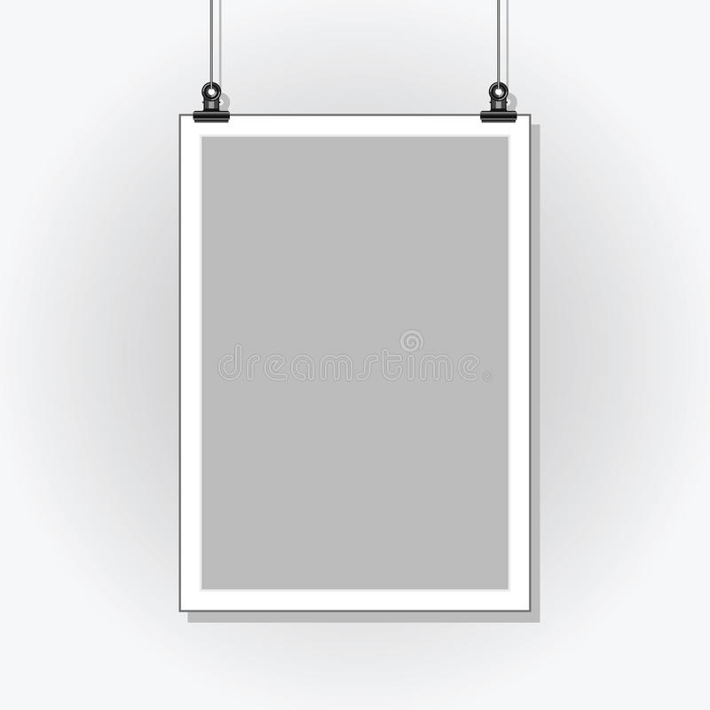Template Poster. Blank Paper In A Light Frame Hanging With Clips ...