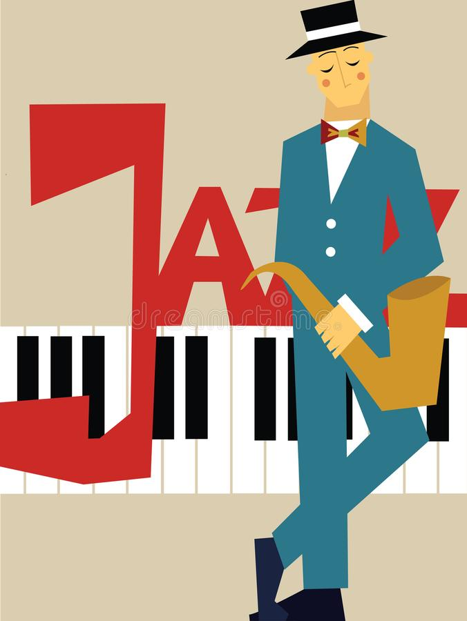 Template of poster for jazz music concert. Man with saxophone and piano keyboard. Vector illustration. stock illustration