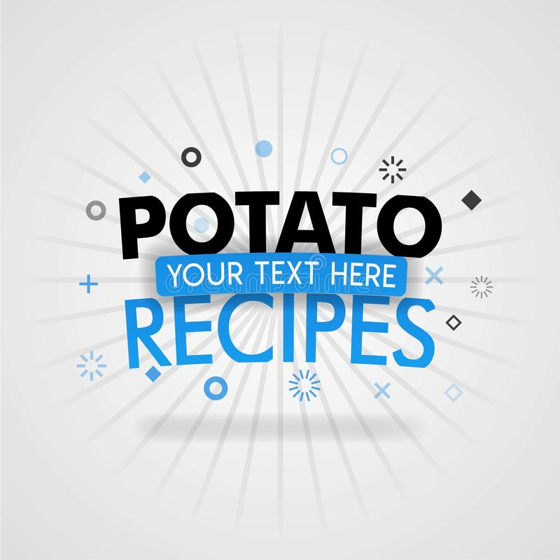 Template for potato recipes blue poster. for promotion, advertising, marketing. Can be for textbook cover magazine, culinary websi. Tes, foodie site, restaurant vector illustration