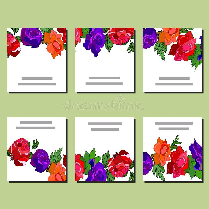 Floral set of templates for your design, greeting cards, festive announcements, posters. Template with red, blue and orange roses for your design, greeting cards stock illustration