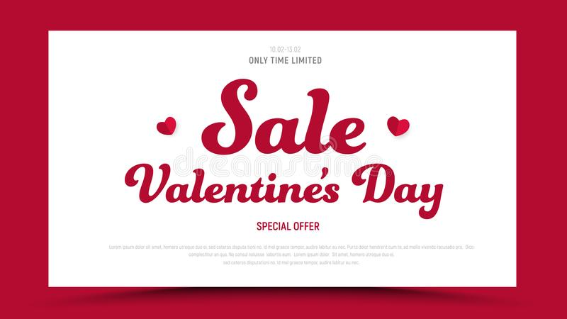 Template of a red vector banner with white rectangle for sale on Valentines Day. stock illustration