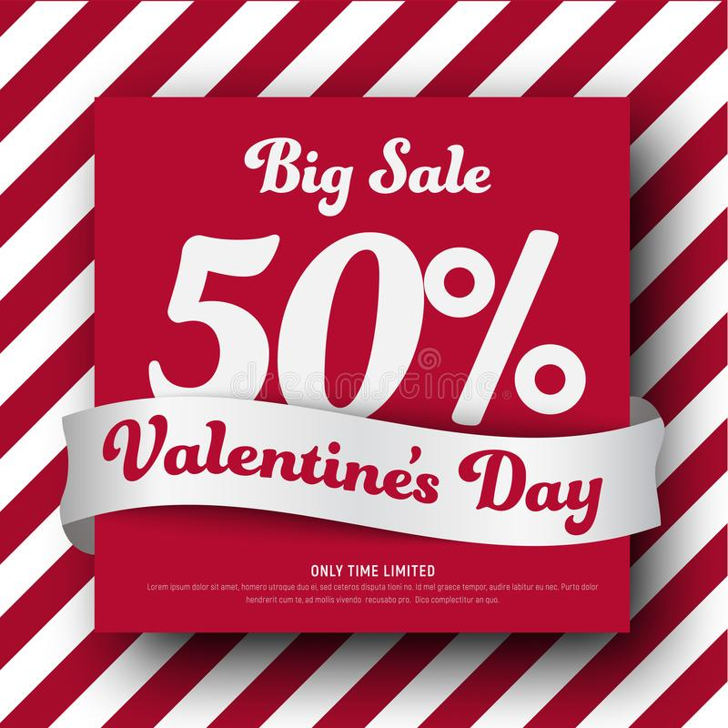 Template of red and white square banner for Sale On Valentine`s royalty free illustration