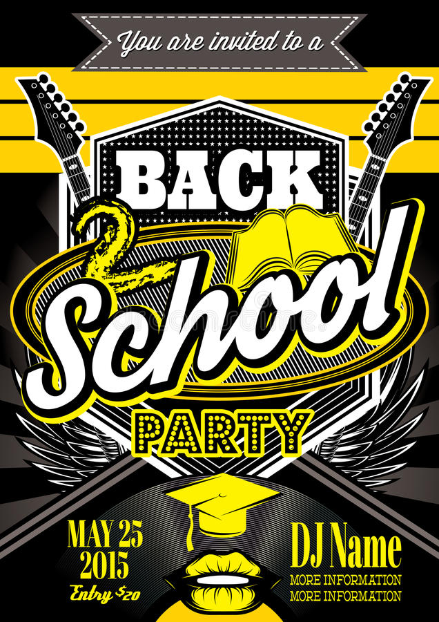 Template for a retro party, back to school stock illustration