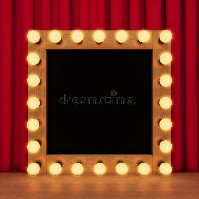 Makeup Mirror Light Bulbs Background Stock Illustrations