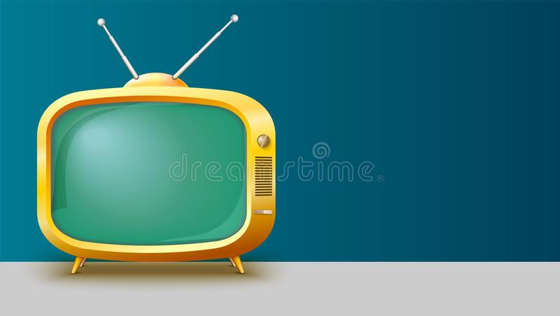 Template with retro yellow TV set for advertisement on horizontal long backdrop, 3D illustration with place for text. Realistic vintage TV with blank screen stock illustration