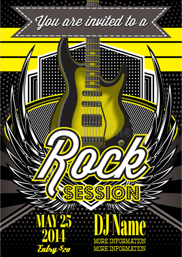 Template for a rock concert with guitar royalty free illustration