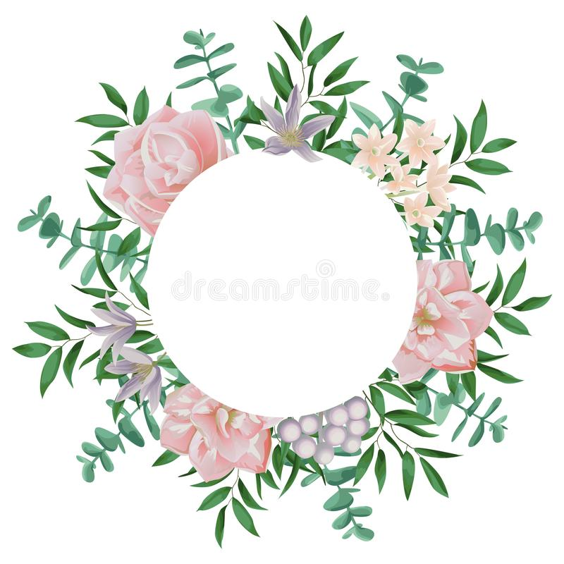 Template With Round Frame And Pink Flowers Stock Vector ...