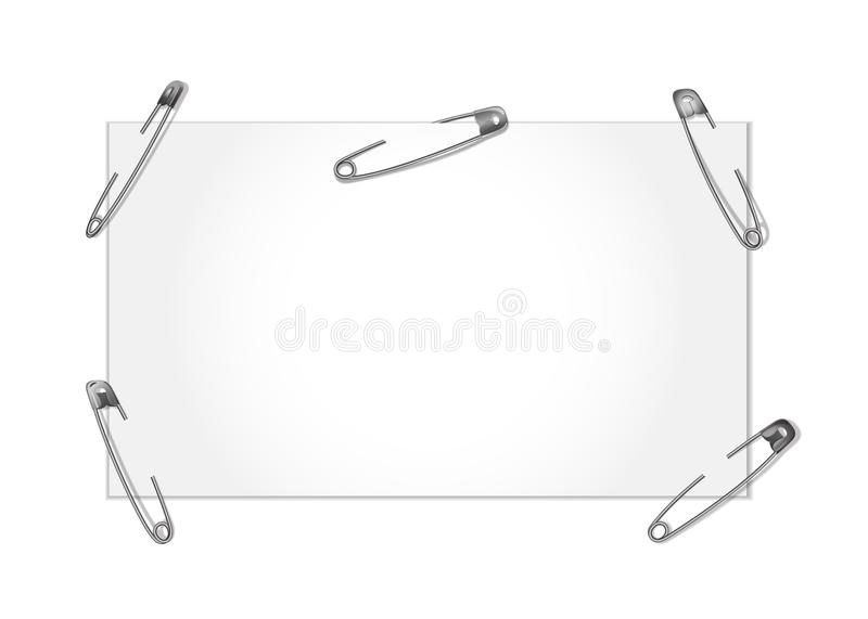 Template with safety pin royalty free illustration
