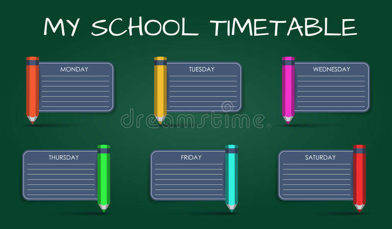 Template Daily School Timetable Stock Vector  Illustration Of