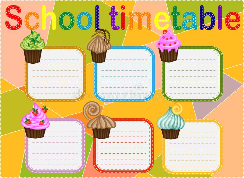 Template school timetable for students or pupils with days of week and free spaces for notes stock illustration