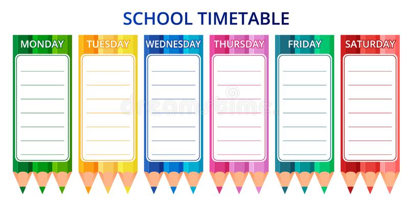 Template school timetable for students or pupils with days of week and free spaces for notes. Vector illustration. stock illustration