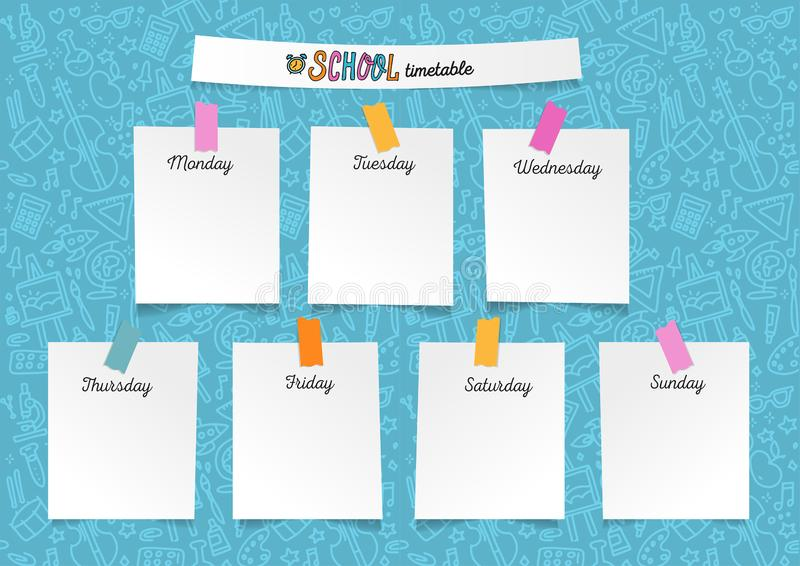 Template school timetable for students or pupils. Illustration with pieces of paper on stickers with many hand drawn elements of royalty free illustration