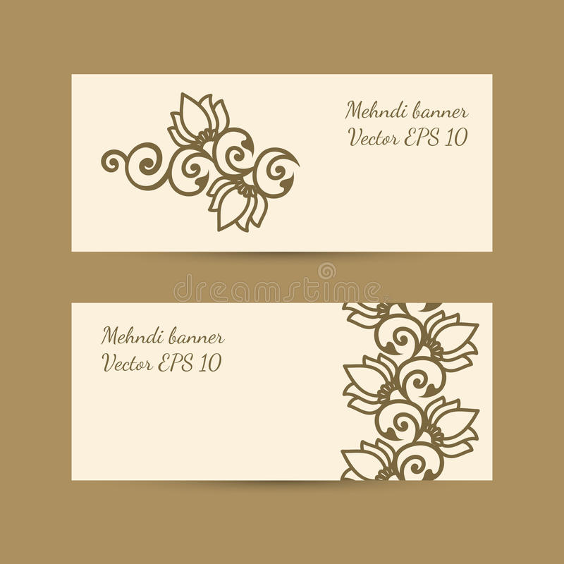 Template set with monochrome decorative mehndi design for banner download template set with monochrome decorative mehndi design for banner stock vector illustration of invitations stopboris Images