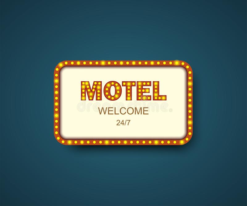 Template signboard Motel with shadow. Hotel sign. Motel box frame for ads. Banner, billboard or signboard for your Motel vector illustration
